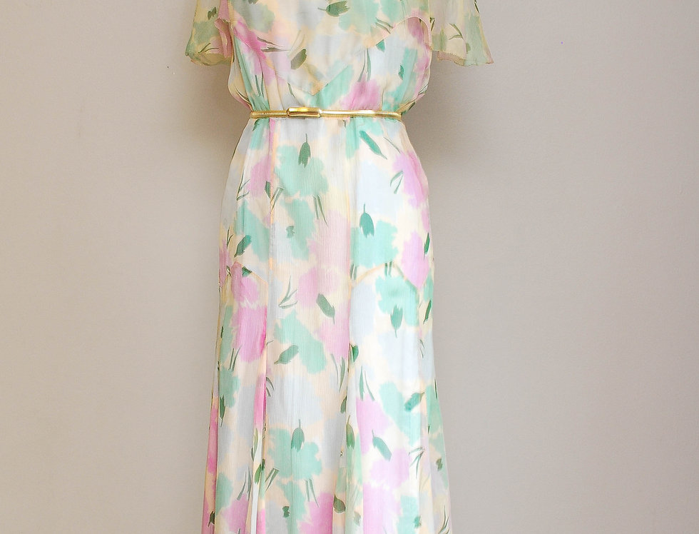 30s Monet Chiffon Dress