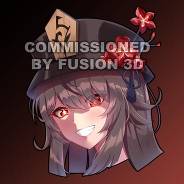 Commission Fusion3D Hu Tao Peeker Sticke