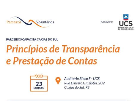 """Capacitação sobre """"Princípios de Transparência e Prestação de Contas"""""""