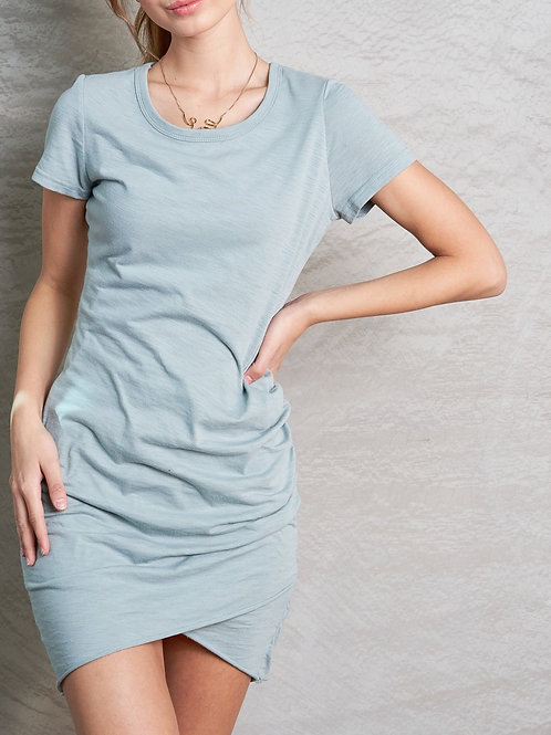 ROUND NECK FITTED SHORT DRESS