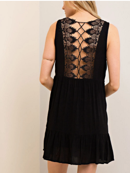 BACK LACE BLACK DRESS