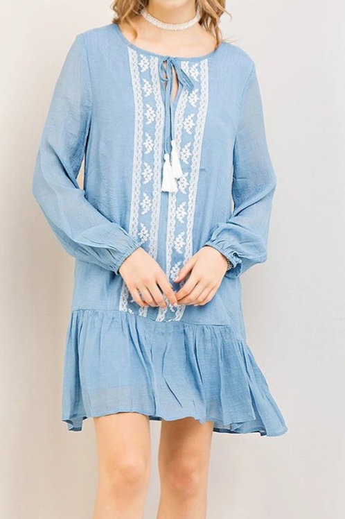 EMBROIDERY DETAIL SWING DRESS