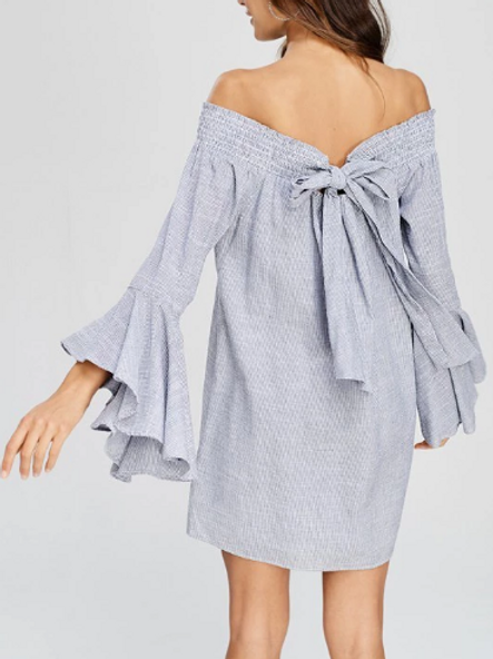 BOW TIE BELL SLEEVE DRESS