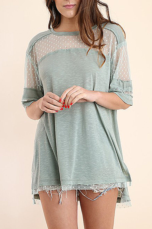 LACE INSERT ROUND NECK TOP