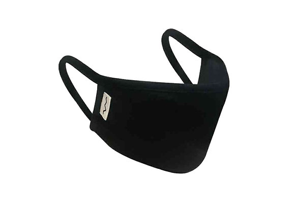 Adult Double Layer Organic Cotton Black Face Mask Overall View