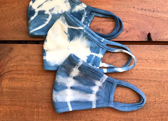Adult Double Layer Organic Cotton Tie Dye Blue Indigo Face Mask Overall View