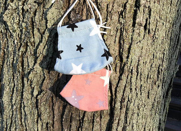 Grade School Child Organic Cotton Face Mask Pink Blue Stars Overall View