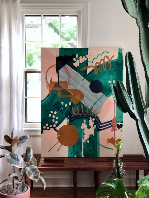 Thinned acrylic & pastel on wood panel, 3x4'