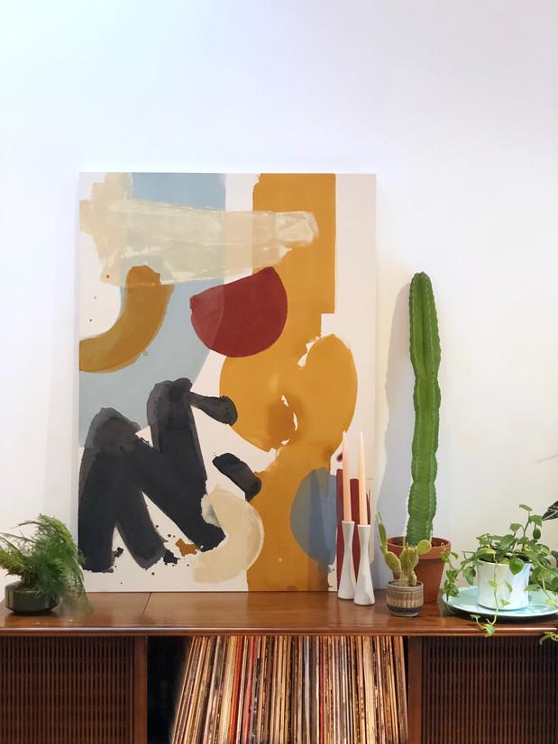 Thinned acrylic on raw canvas, 3x4'