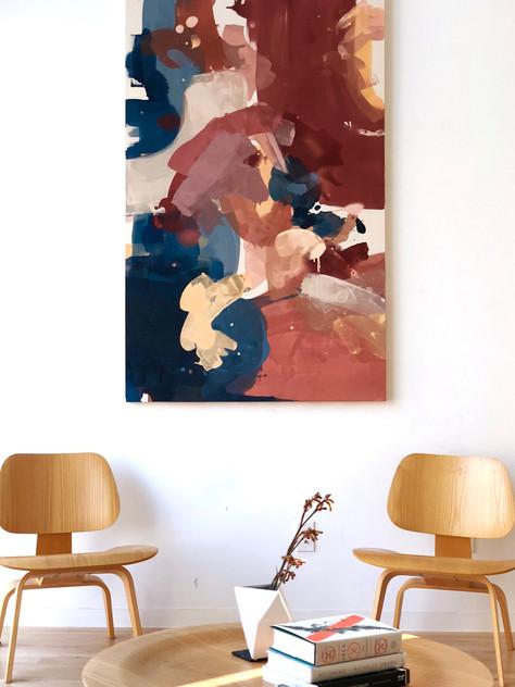 Thinned acrylic on raw canvas, 3x5'