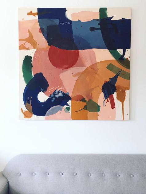 Thinned acrylic on raw canvas, 4x4'