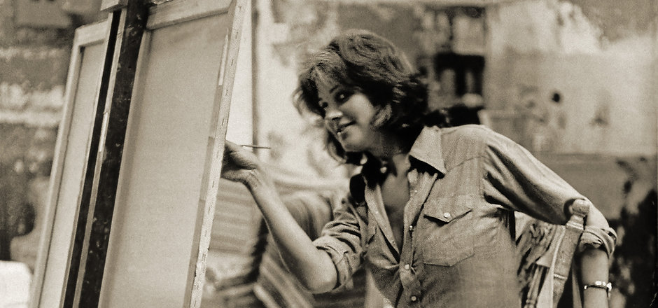 Judy Ann painting in the 70's( sepia.)jp