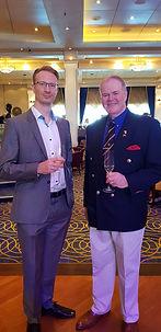 Alasdair James Dodds with teh admiral of the Cunard Fleet