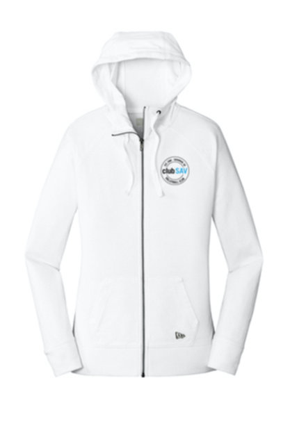 Ladies Sueded Cotton Blend Full-Zip Hoodie w/ Circle Logos