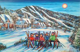 La famille en ski 24x36 Vendu