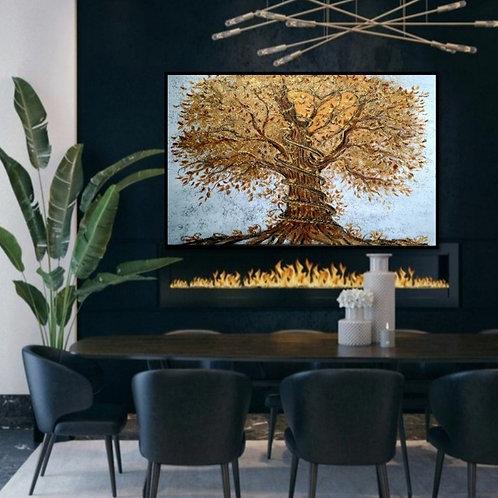 Impression sur toile- Aux milles feuilles d'or