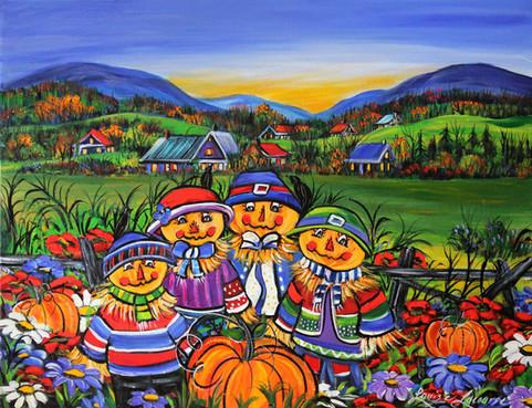 La petite famille et leurs citrouilles
