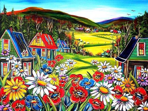 Fleurs en fête Reproduction sur toile 24x36