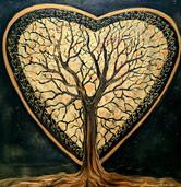 Un coeur doré 30x30