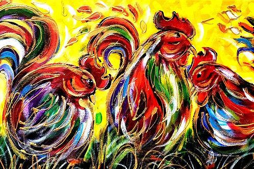 Oeuvre Originale -Les poulettes joyeuses