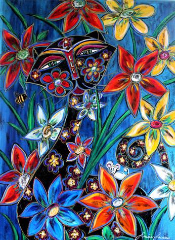 Chaton fleuri
