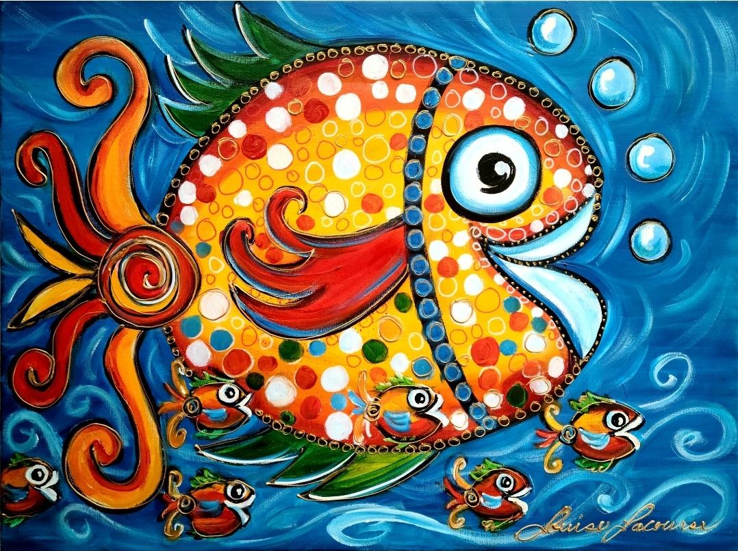 Heureux comme un poisson dans l'eau 20x24