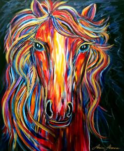 36x30 Le cheval coloré.