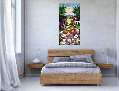 Au village fleuri 40x20