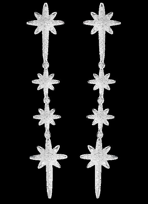 Aretes Largos con Estrellas y Piedra - Iconique