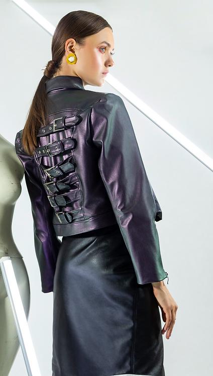 Chamarra de suave piel torasol tipo biker jacket