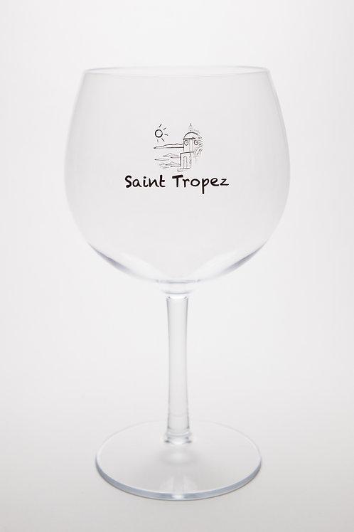 Verre Balloon Transparent sur pied en Tritan avec logo Saint-Tropez.