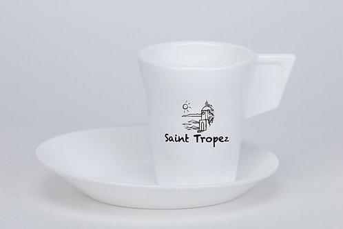 Tasse à café Expresso blanche avec sous-tasse