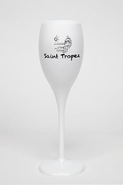 Lot de  6 Flûtes à champagne Blanche  logo Saint Tropez