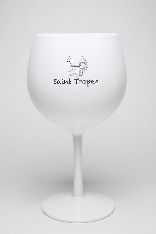 Verre Balloon blanc sur pied en Tritan avec logo Saint-Tropez.