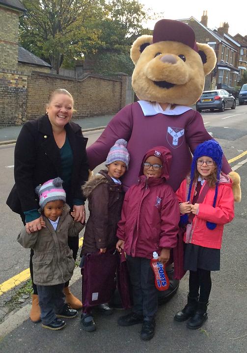 Breakfast Club children with Teddy Minster