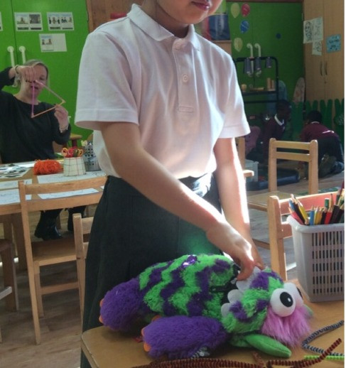 We introduced the Worry Monster to our Infants Clubs. The Idea behind the Worry Eater Monster is that children write down or draw a picture of what is upsetting them and put it into the toy's mouth, which is then zipped shut-banishing their worries