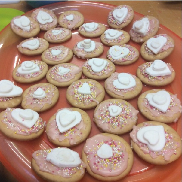 Children enjoyed decorating Valentines biscuits