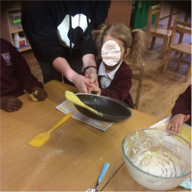 Children had lots of fun flipping play dough pancakes