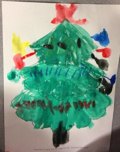 Christmas tree painting