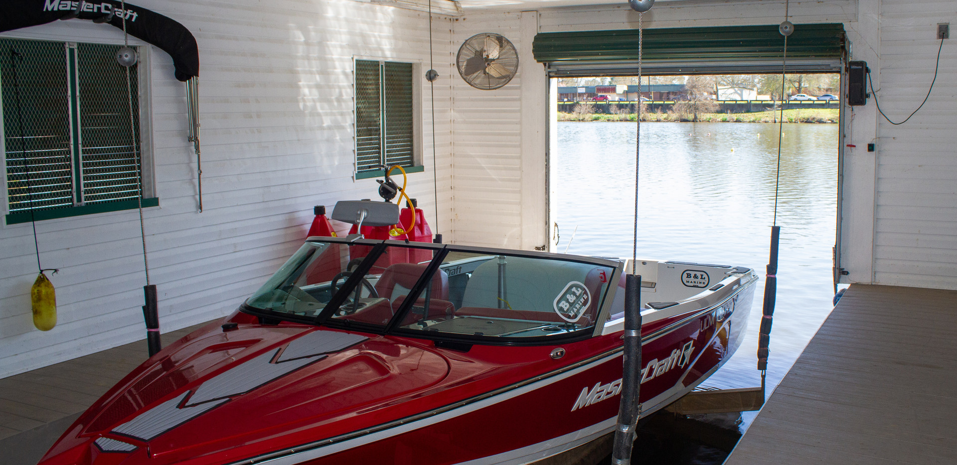 Inside our boat house, our beautiful Prostar!
