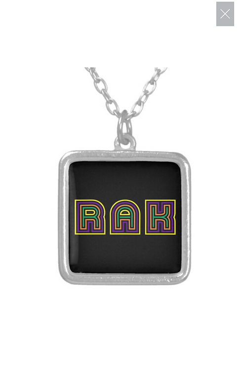 Small Silver Plated Square RAK logo Necklace - Currently On Back Order