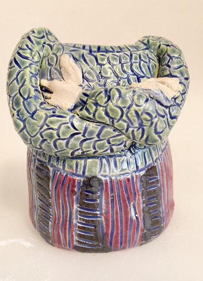 Small blue glazed lady pot