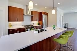 Quartz counters & Mahogany cabinets