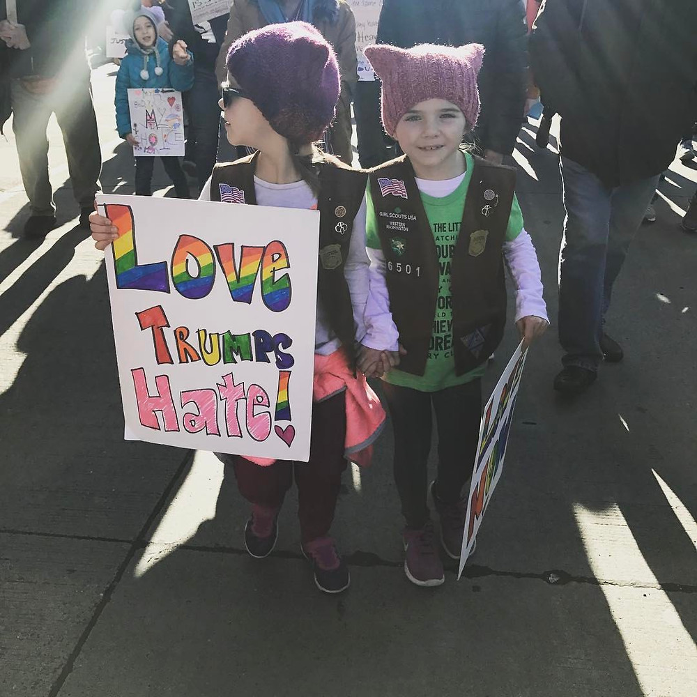 Lucy, 8 and Frankie, 7 participating in Seattle