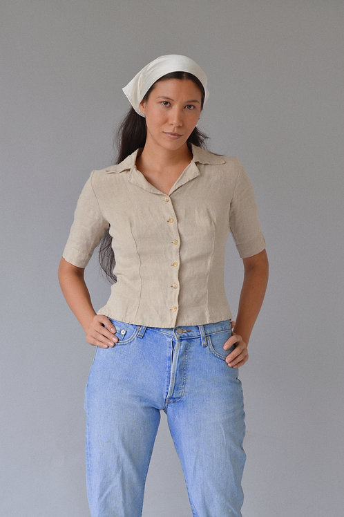 Kostüm V Agnes Pure Linen Cropped Button Down