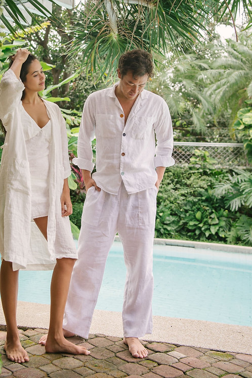 Unisex Lounge Pants White Linen