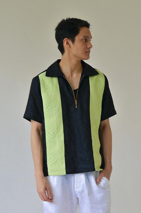 Men's Binakol Zip Panel Shirt Black/Lime (pre-order)