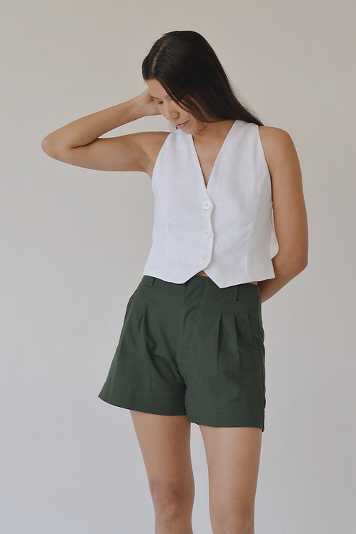 Pleated Shorts Forest Green (pre-order)
