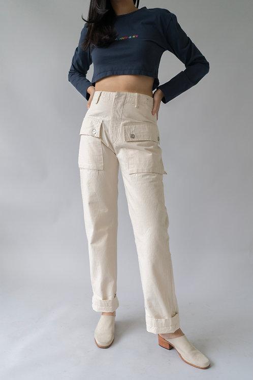 Leon Denim LDP44-HBT Military Trousers Ivory (Monkey Pants)