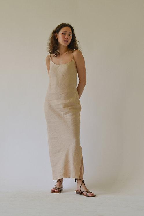 Scoop Bias Slip Dress Khaki Linen (pre-order)